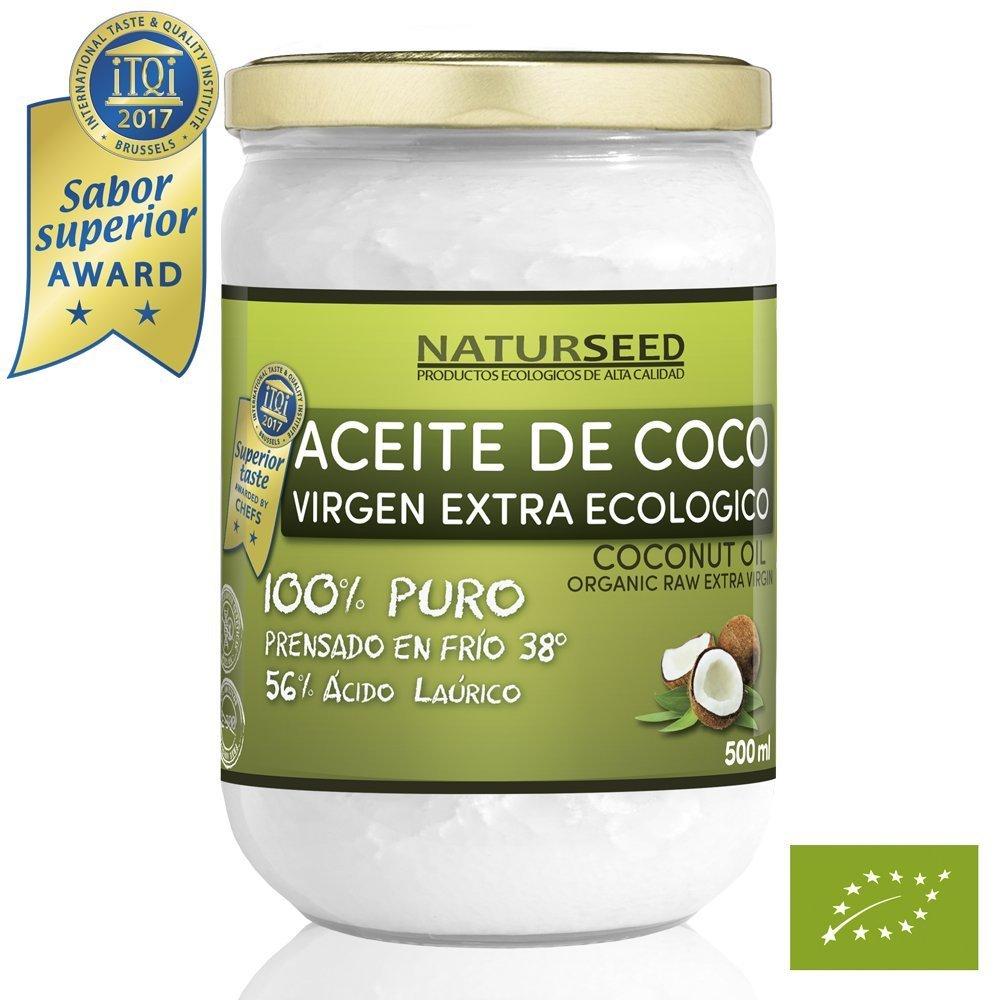 Aceite de coco extra virgen 500 ml - Crudo y prensado en frío - Puro y 100% biológico - Ideal para cabello, cuerpo y para uso alimentario - Aceite bio nativo no refinado - (Naturseed)