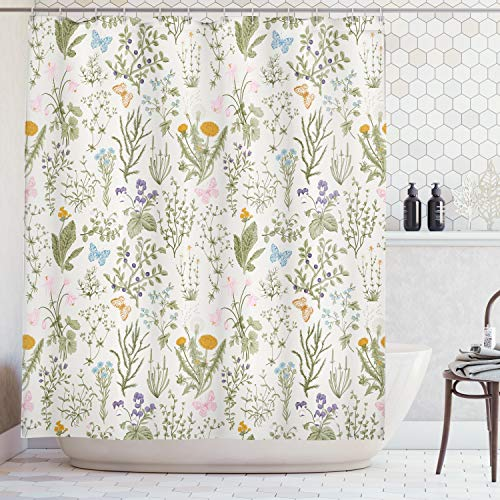 - Ambesonne Floral Shower Curtain, Vintage Garden Plants with Herbs Flowers Botanical Classic Design, Fabric Bathroom Decor Set with Hooks, 70 Inches, Beige Reseda Green Pink Blue