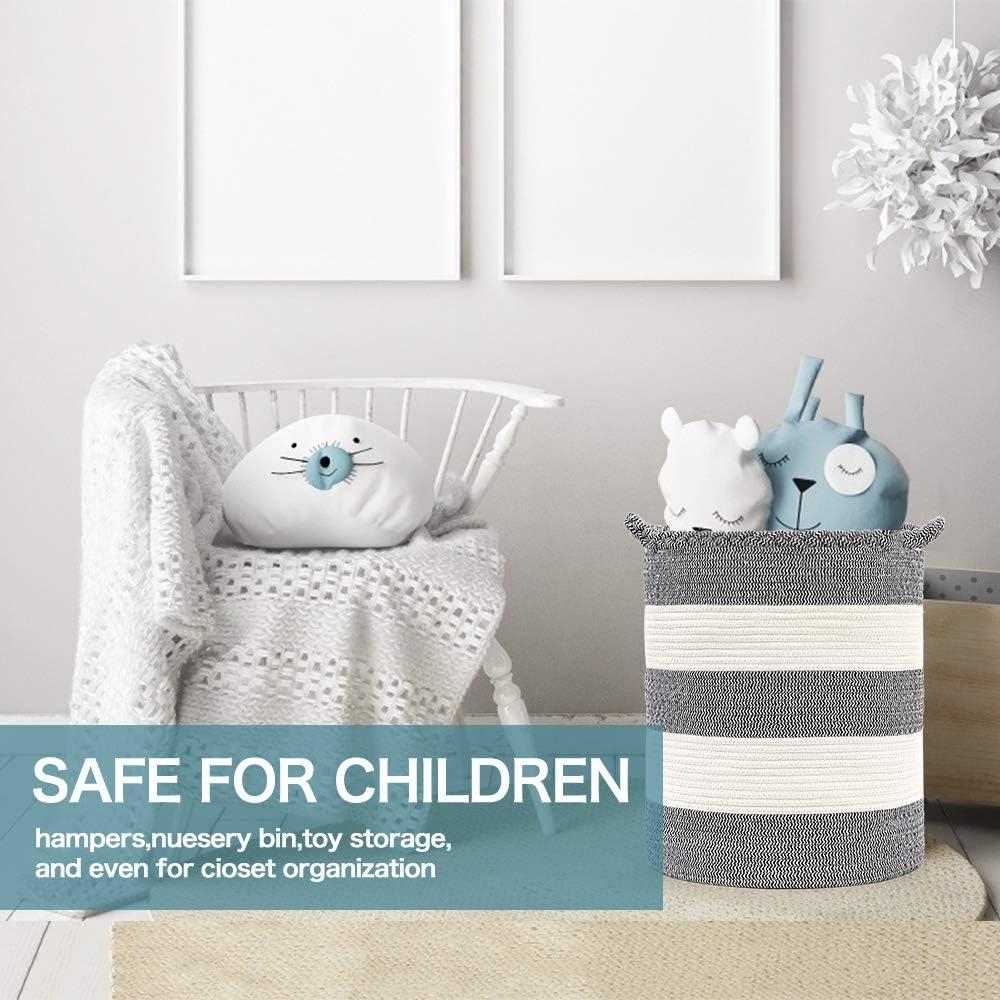 Decken Baby-Spielzeugen Kinderzimmer(Color 03,35x46cm Cotton Coming Gro/ße Baumwolle Seil Korb W/äschekorb Baumwollseilkorb Geflochtene K/örbeil zur Organisation von W/äsche
