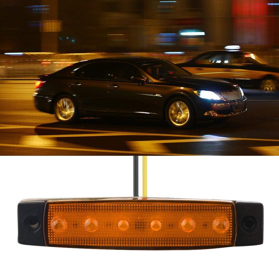 LouiseEvel215 12V 6 LED Remolque Cami/ón Despeje Marcador Lateral Sumergible Ancho de luz L/ámpara Veh/ículo Indicador Externo Universal Luz de Advertencia