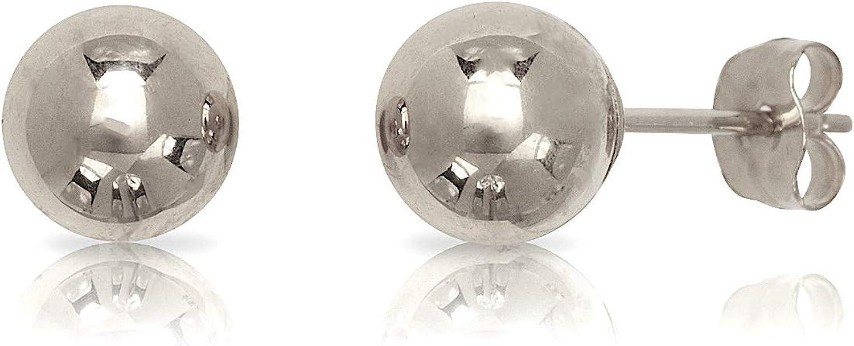 14 Karat White Gold Ball Earrings 4 mm