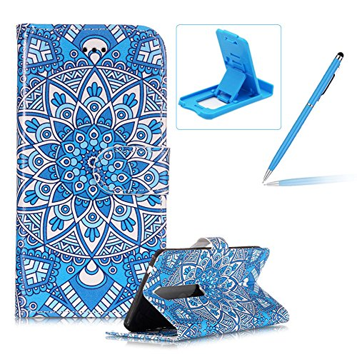 Price comparison product image Leather Case for Nokia 6 2018,Wallet Flip Case for Nokia 6 2018,Herzzer Stylish Blue Mandala Printed Magnetic Closure Stand Shockproof PU Leather Case with Soft Silicone