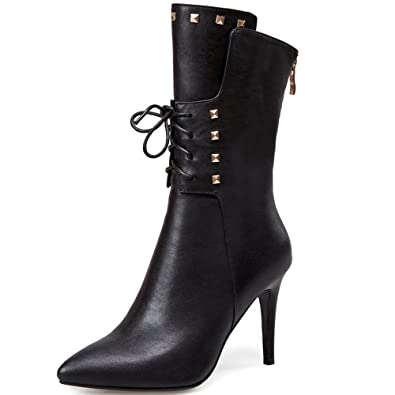 Genuine Leather Women's Round Toe Chunky Heel Zip Up Handmade Colorful Fashion Mid Calf Boots