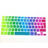 "EU/UK Macbook keyboard covers-- English Letter Silicone Colorful Keyboard Cover Skin for MacBook Pro 13"" 15"" 17"" (with or without Retina Display) and MacBook Air 13"" European/ISO Keyboard Layout (13"" 15"" Keyboard Cover, Rainbow)"