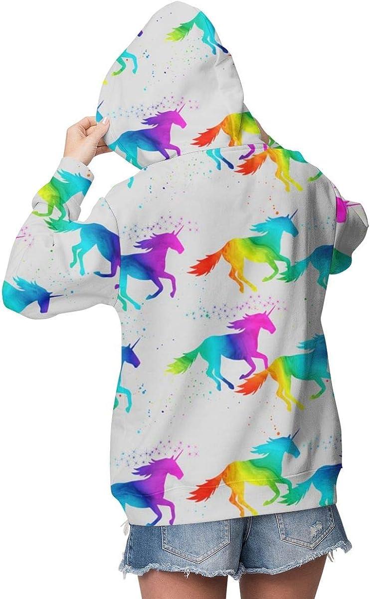 Womens Hoodie Sweatshirt Pullover Watercolor Unicorn Grey Casual Hooded Tops