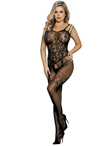 e8577e9f17f Amazon.com: comeondear Women Lingerie Set Fishnet Bodystocking Plus Size  Floral Crotchless Bodysuit Lingerie: Clothing