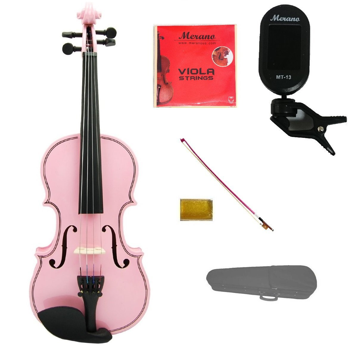 Merano Student 15 inch PINK Viola with PINK Stick Bow+Case+Extra Set of Strings+Rosin+Clip-on Tuner