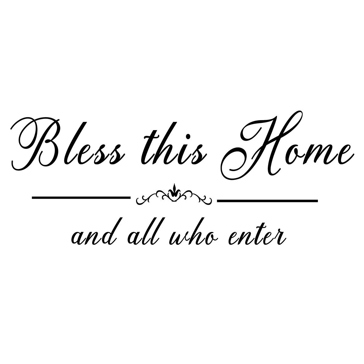 """Vinyl Wall Art Sticker - Bless This Home and All Who Enter, Prayer Word Decal Walls for Home Entryway Décor or Kitchen Dining Room Bedroom Handwriting Art Letters 23.6""""× 8.2"""""""