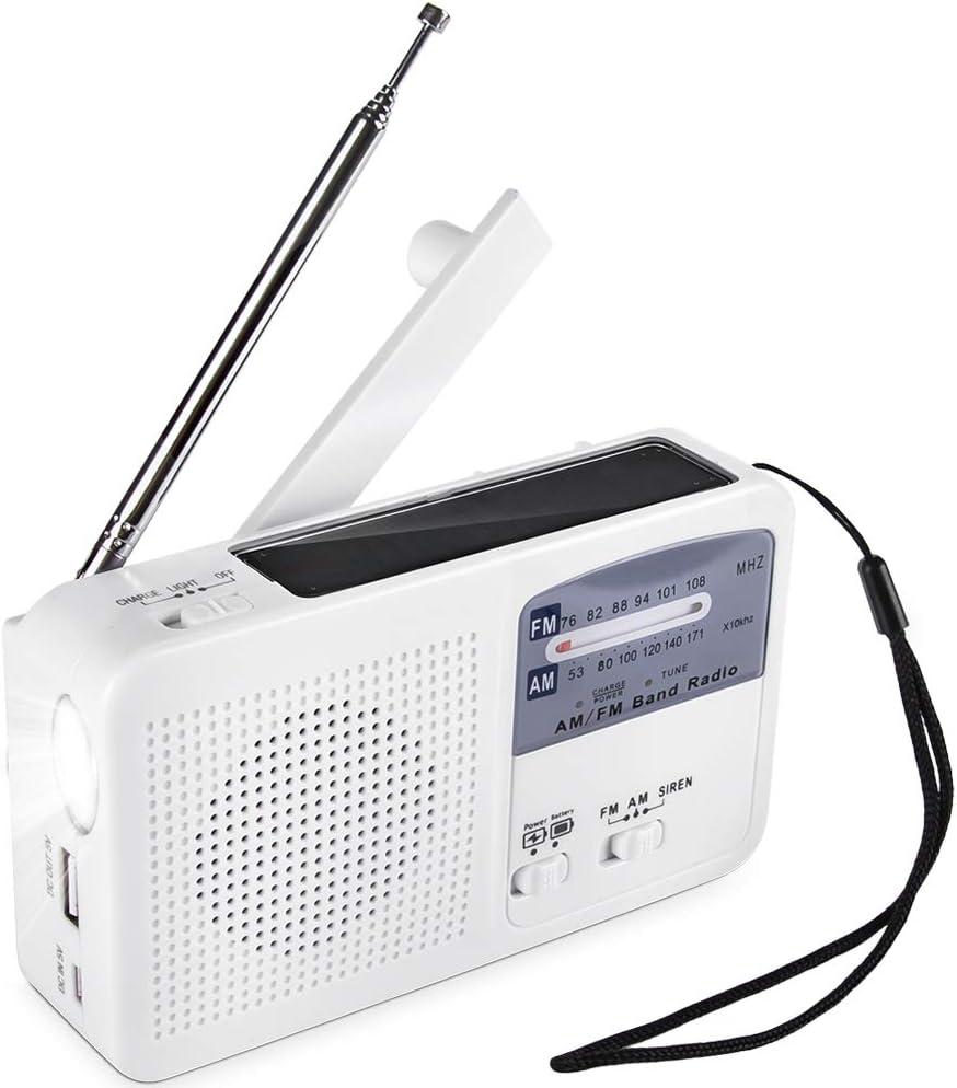 Radio de Emergencia portátil Solar Dynamo Power Recargable Manivela FM/Am Radio Reproductor de MP3 inalámbrico LED Linterna Sirena Cargador de teléfono móvil portátil Banco de energía