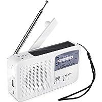 Radio Portable d'urgence Solaire Dynamo Power Manivelle Rechargeable Radio FM/AM Lecteur MP3 sans Fil Lampe de Poche LED Siren Portable Chargeur de téléphone Portable Banque d'alimentation