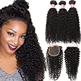 Cheap Pizazz Burmese Virgin Curly Hair 3 Bundles with Closure 100% Unprocessed Human Hair Bundles with Free Part Closure Natural Black Color (10 12 14+10inch closure)