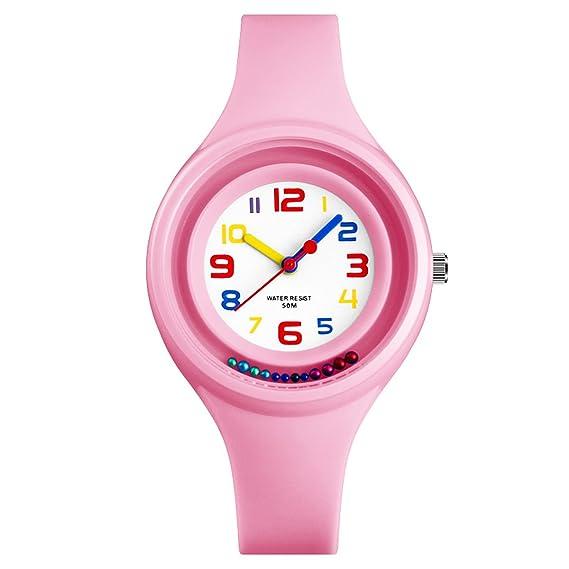 Kdis Relojes Analógico Cuarzo Jelly Reloj Impermeable Niños Niñas Adolescentes Estudiantes Reloj de Pulsera Rosa: Amazon.es: Relojes