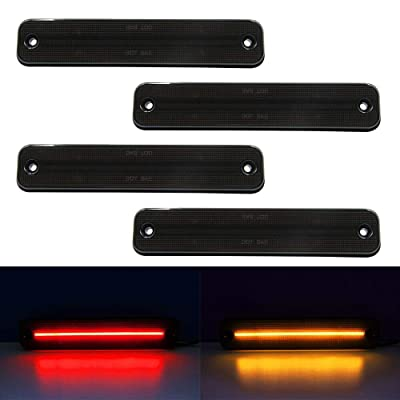 LED Side Marker Light Kit For 2003-2009 Hummer H2 Smoked Lens Amber/Front Red/Rear Replace OEM No: 25952319 Side Fender Lamps: Automotive [5Bkhe1014437]