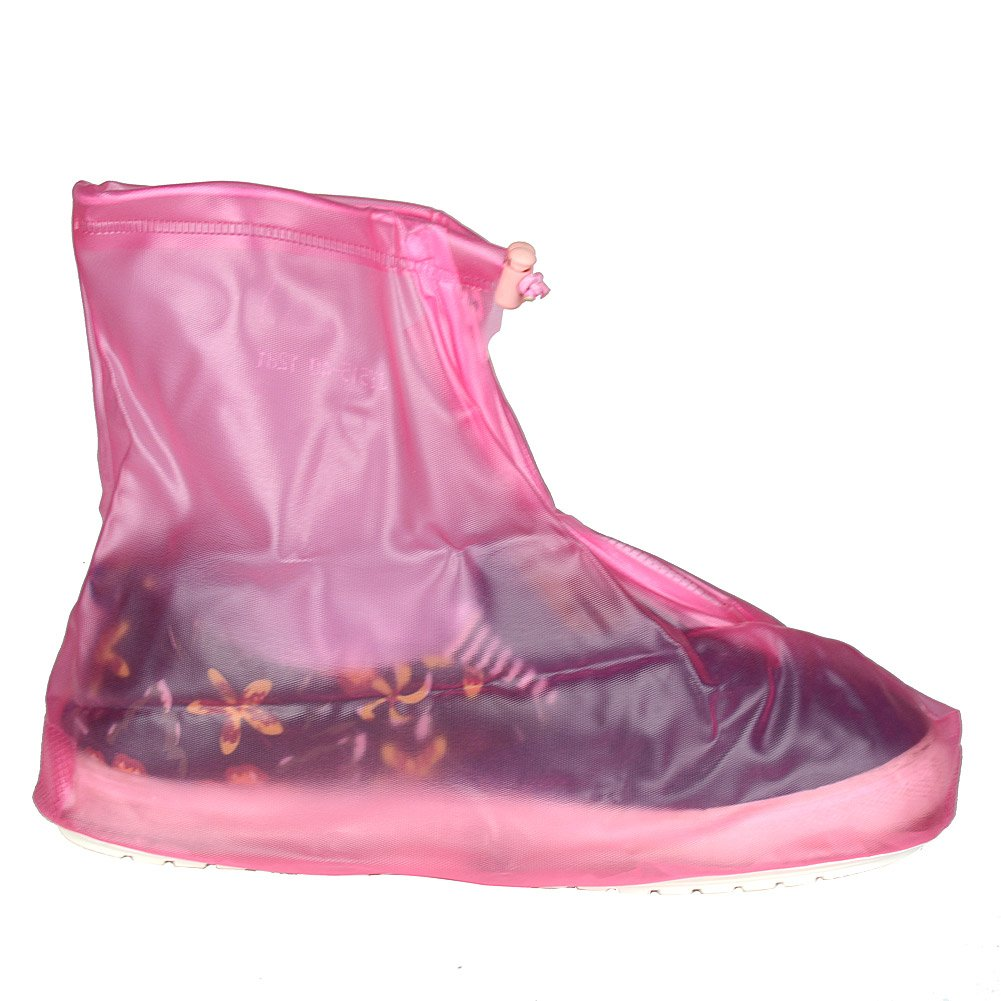 Reusable Pink XL Waterproof Thicken Sole Shoes Boots Cover For Women Girls