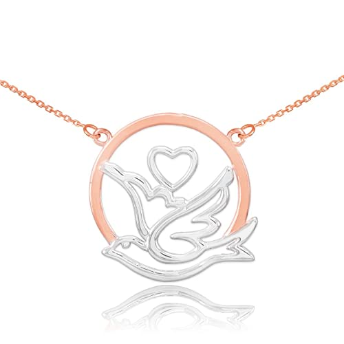Dainty 14k Two-Tone Rose Gold Love Dove with Heart Pendant Necklace