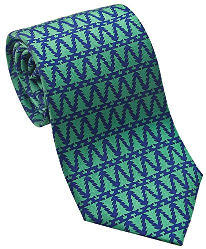 Josh Bach Christmas Trees Motif Men's Silk Necktie, Made in USA