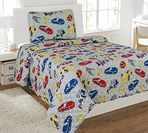 ize 2 Pieces Printed New Designs Kids Bedspread/ Coverlet Sets/ Quilt Set (Twin, RACE CAR) (New Car Twin Quilt)