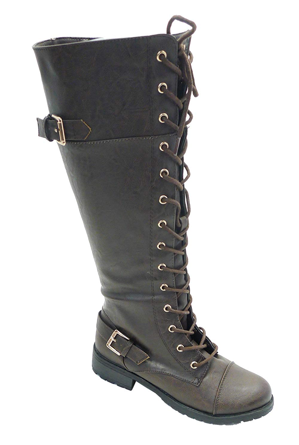 Wild Diva Timberly Womens Fashion Lace Up Buckle Knee High Combat Boots