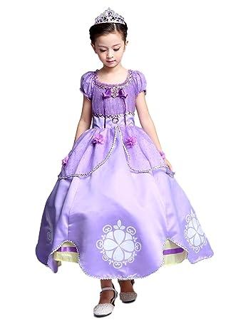 1b5c902c68b6f (eones)プリンセスドレス ソフィア風 ロングドレス 4層構造 なりきり 子供 お姫様 キッズ