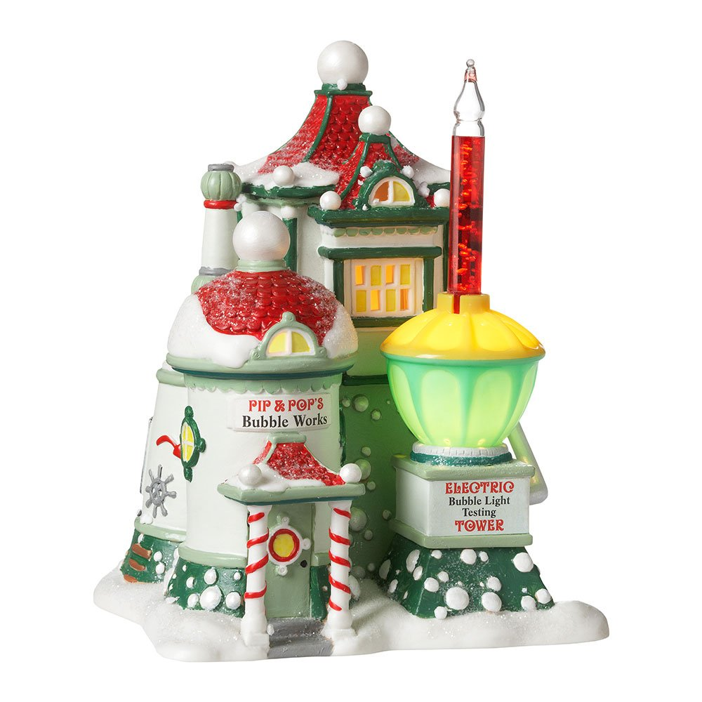 Departamento 56 North Pole Series Village Pip and Pop'S Bubble Works Lit House, Verde, 6.89 in H x 5.71 in W x 5.12 in