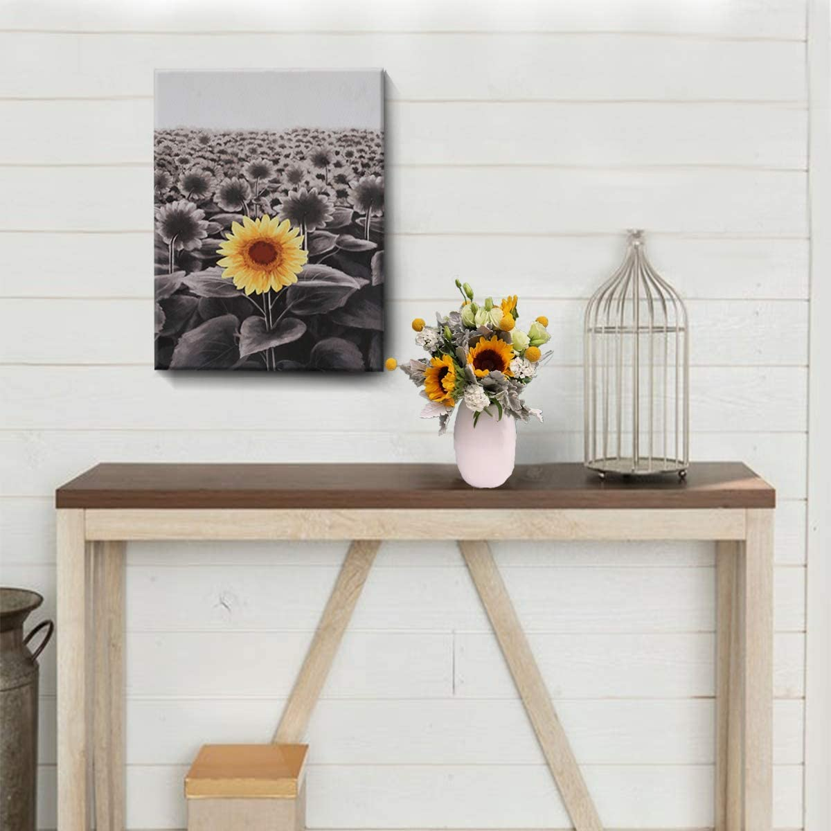 Sunflower Wall Art Inspirational Canvas Print for Bathroom Wall Décor Black and White Yellow Flowers Field Painting Funny Floral Picture Modern Framed Posters Office Classroom Home Decor 12x16in