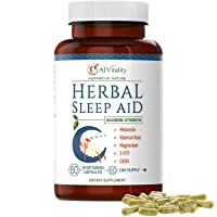 Herbal Sleeping Pills for Adults - Non Habit Forming Fast Acting Natural Melatonin Sleep Aid with Magnesium, GABA, Valerian Root, Lemon Balm, & Chamomile - 60 Vegetarian Capsules