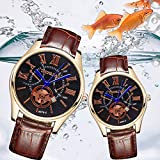 ZX101 Unisex Faux Leather Strap Round Dials Roman Numerals Analog Quartz Wrist Watch - Brown + White Women's