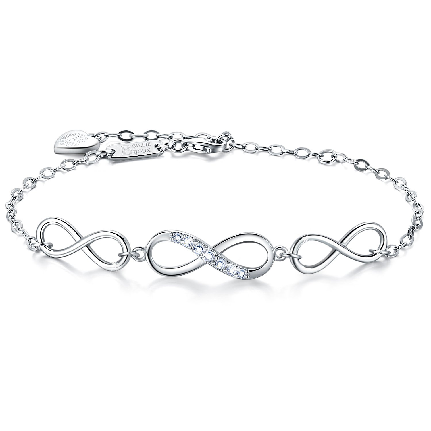 Billie Bijoux Womens 925 Sterling Silver Infinity Endless Love Symbol Charm Adjustable Bracelet White Gold Plated Gift for Graduation Christmas Day
