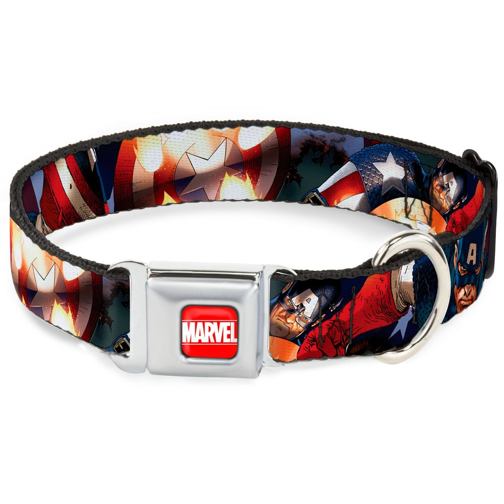 1.5\ Buckle-Down DC-WCA010-WM Dog Collar Seatbelt Buckle, Marvel Universe Captain America Action2, 1.5  by 16-23