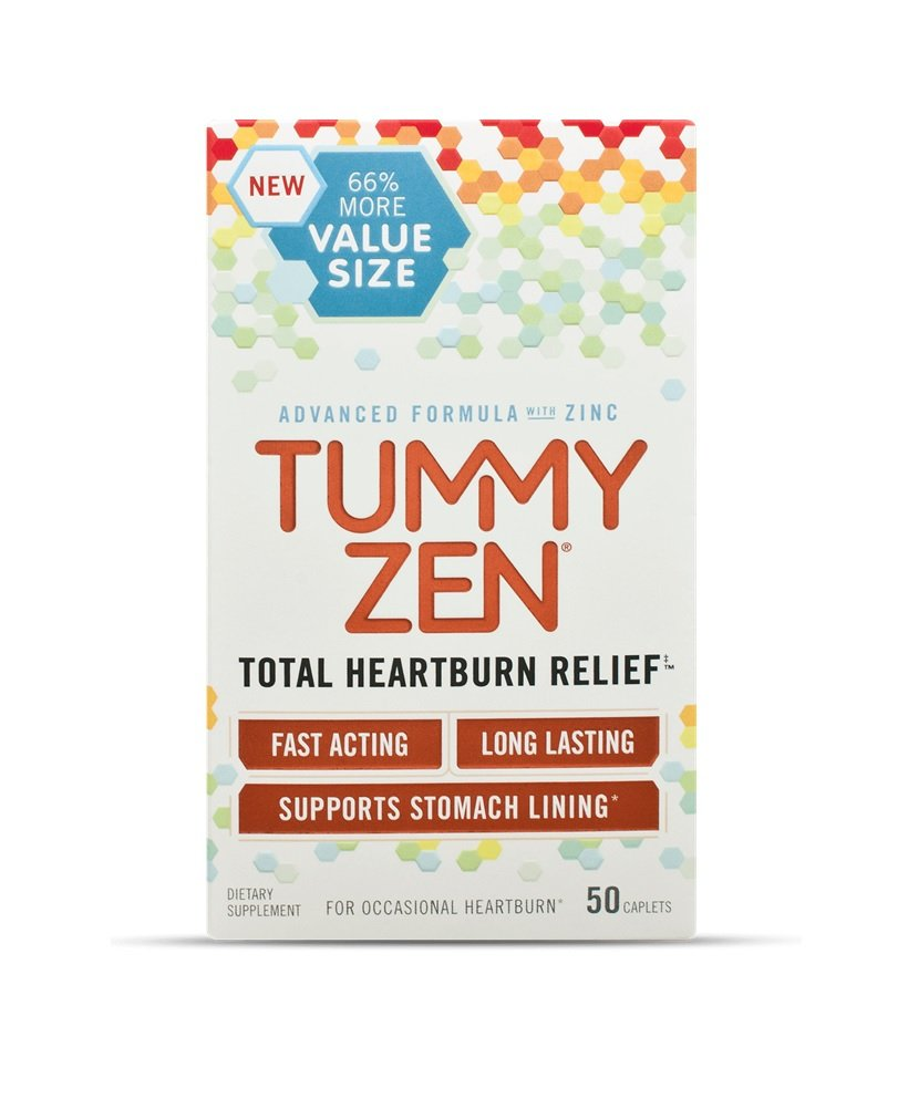 TummyZen Total Heartburn Relief, 50 Caplets Per Box (12 Pack) by Tummy Zen