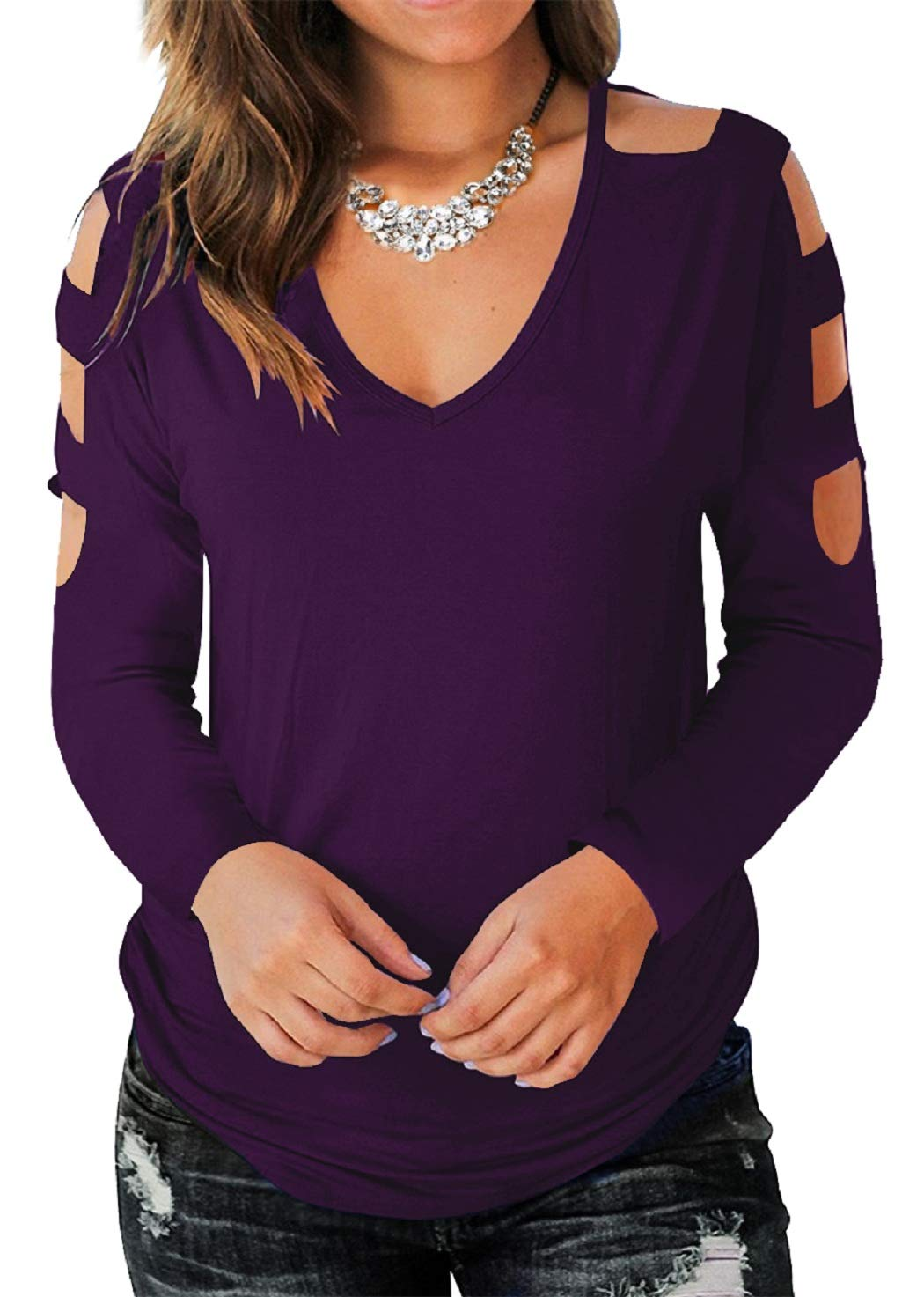Eanklosco Women's Long Sleeve V Neck Cold Shoulder Cut Out T Shirts Casual Tunic Tops (L, Purple)