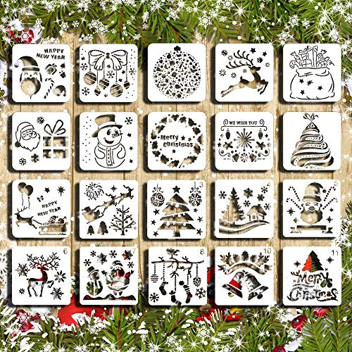 Christmas Stencil Set Template DIY Decor Stencils Craft Scrapbooking Plastic Drawing Cards 20 PCS Use on Cookies Wall Glass Fabrics Wood Cards Posters Holiday Xmas Tree Bell Snowflake Elk (Christmas Decorations Card)