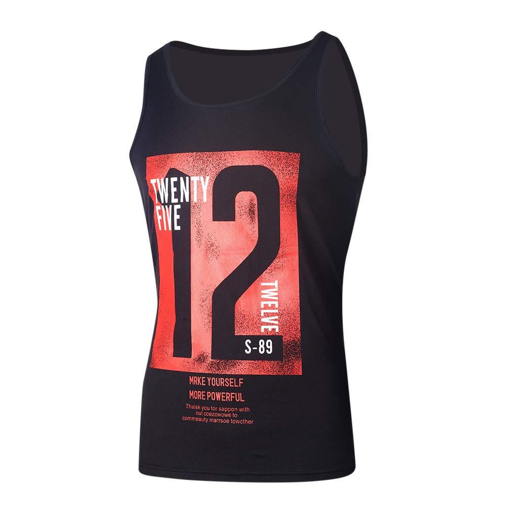 TWBB Chaleco Ocasional de los Hombres de la Moda Letra Delgada sin Mangas Impresa Camiseta del Tanque