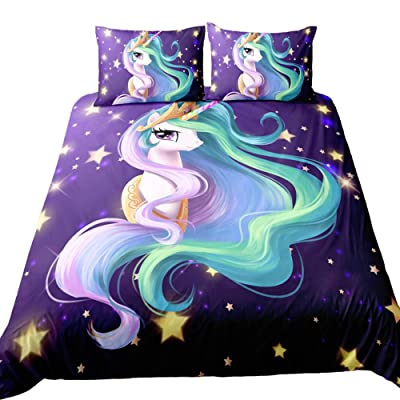 Suncloris,Rainbow Unicorn Fairytale with Mandala Paisley Background,Kids' Gift Home Bedding Set.Included:1Duvet Cover,2Pillowcase(no Comforter Inside) (Full): Home & Kitchen