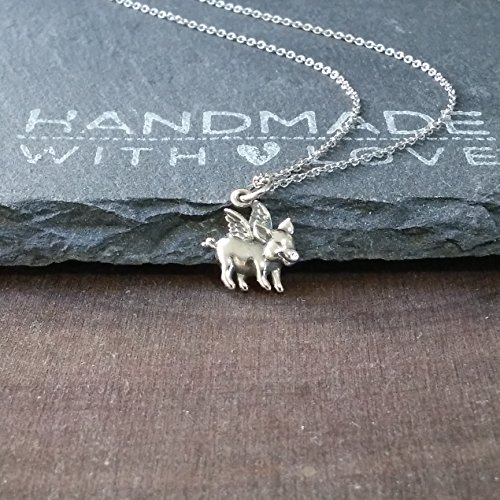 Sterling Silver Petite Flying Pig Charm Pendant Necklace, ()