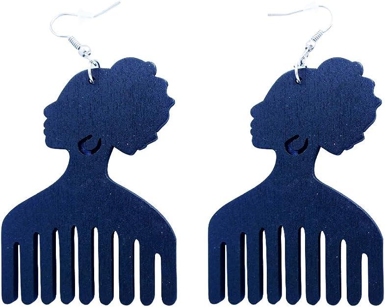 hair pick earrings wooden earrings bold statement earrings ankh earring black bronze Afrocentric African earrings Afro comb earrings