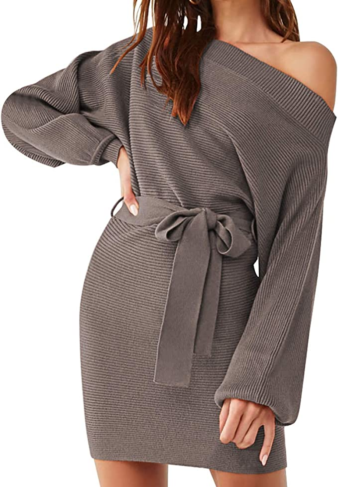 Meenew Women's Off Shoulder Long Sleeve Sweater Dress Tie Waist Mini Dress