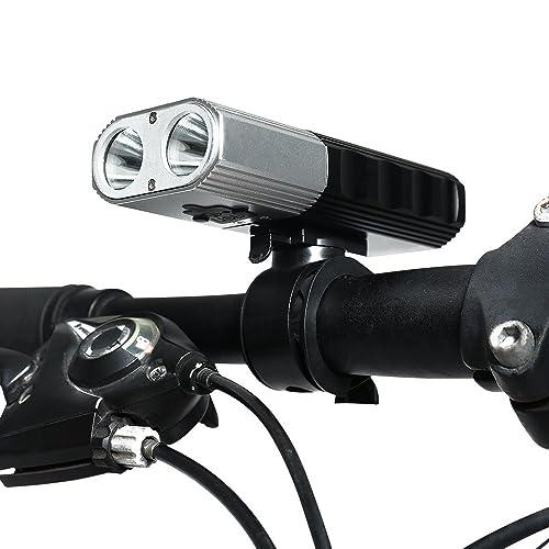 SupFire Vélo de Lumière LED Phare 2x700 Lumens Cyclisme Phares Éclairage Vélo avec 2 18650 Batteries Incluse,Rechargeable avec un Câble USB Directement,4 Modes pour Vélo Cyclisme,Mod&e
