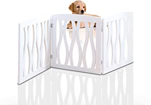 Wooden Pet Gate, Foldable and Freestanding, For Indoor Home and Office Use. Keeps Pets Safe [White Cascade Wave Decorative Design. Easy Set Up, No Tools Required]