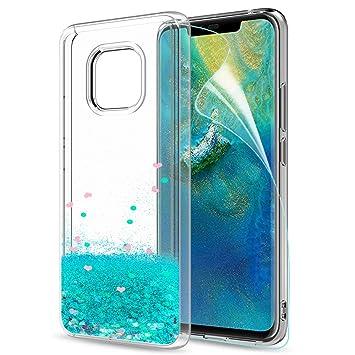 LeYi Funda Huawei Mate 20 Pro Silicona Purpurina Carcasa con HD Protectores de Pantalla,Transparente Cristal Bumper Telefono Gel TPU Fundas Case Cover ...