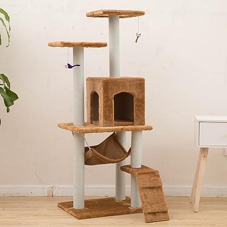 MERRYHOME Centro de Actividades para Arañar Árboles de Gatos de Plataforma - Casa de Muebles para
