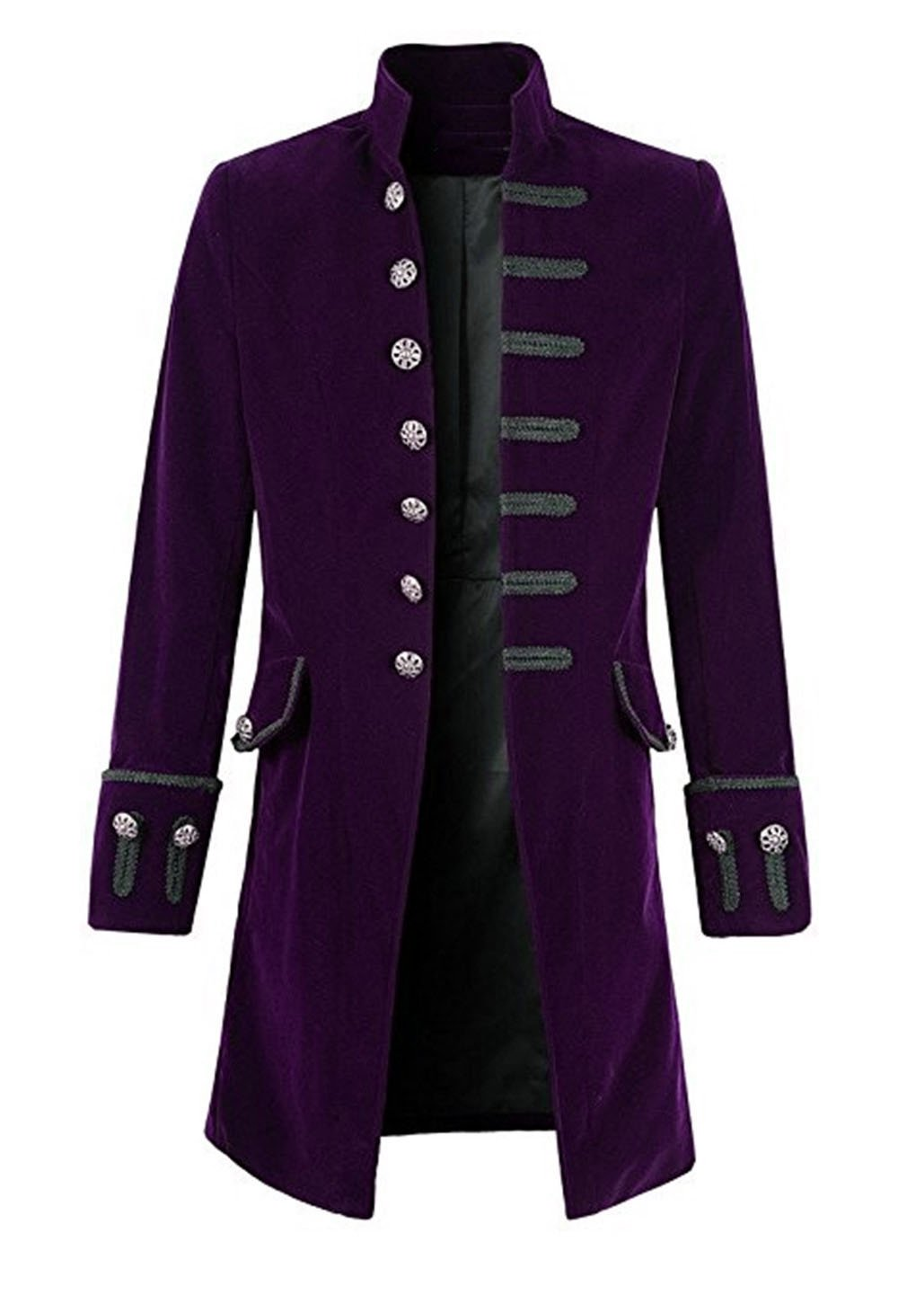 Everbeauty Men's Retro Stylish Velvet Goth Steampunk Long Overcoat