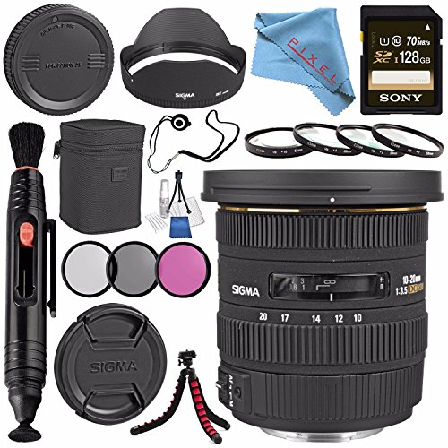Sigma 10-20mm f/3.5 EX DC HSM Lens for Canon #202101 + 82mm 3 Piece Filter Kit + Sony 128GB SDXC Card + Lens Pen Cleaner + Fibercloth + Lens Capkeeper + Deluxe Cleaning Kit + Flexible Tripod Bundle
