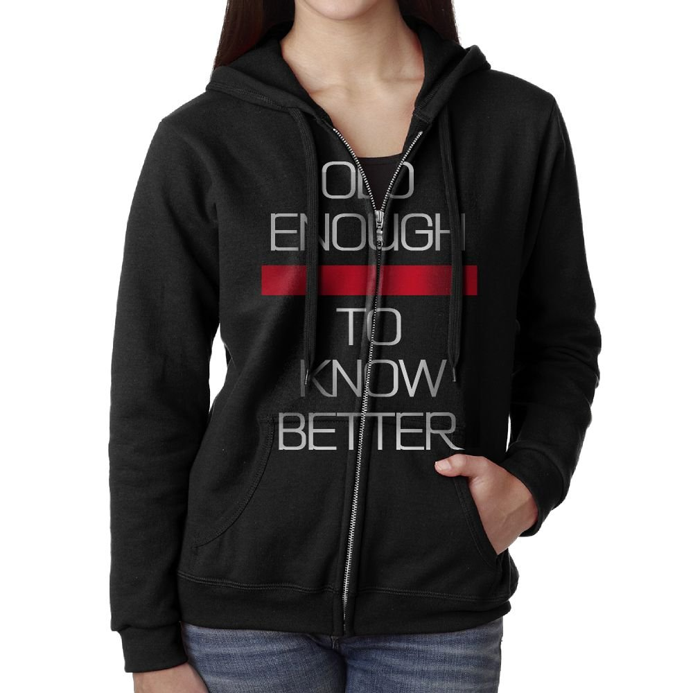 Black Old Enough To Know Better Woman Zipper Outwear Casual Clothing\r\n Guys Navy Hoodie