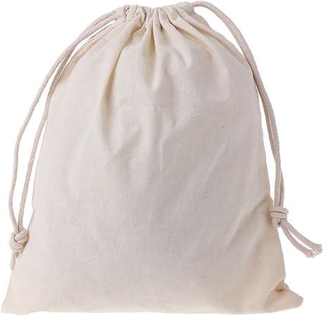 Xuniu Bolsas de algodón Natural con cordón, Bolsa de Almacenamiento de Cosas Ropa de lavandería Acabado 25.5x31cm: Amazon.es: Hogar