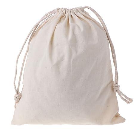 Xuniu Bolsas de algodón Natural con cordón, Bolsa de Almacenamiento de Cosas Ropa de lavandería Acabado 25.5x31cm