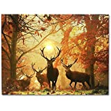 Deer Picture - LED Big Buck Wrapped Canvas Print - White Tail Deer in Autumn Forest - Wildlife Wall Decoration - Deer Decor - Glowing Canvas Picture - 16x12 Inch