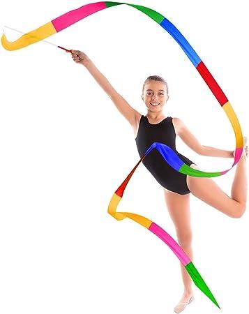 2M Ni/ños Streamers con Varillas Colorido A 6 Pack Cintas de Baile Gimnasias R/ítmicas Cinta Entrenamiento Actividades Divertidas Gimnasia para Ni/ños Bailes Art/ísticos Baton Twirling