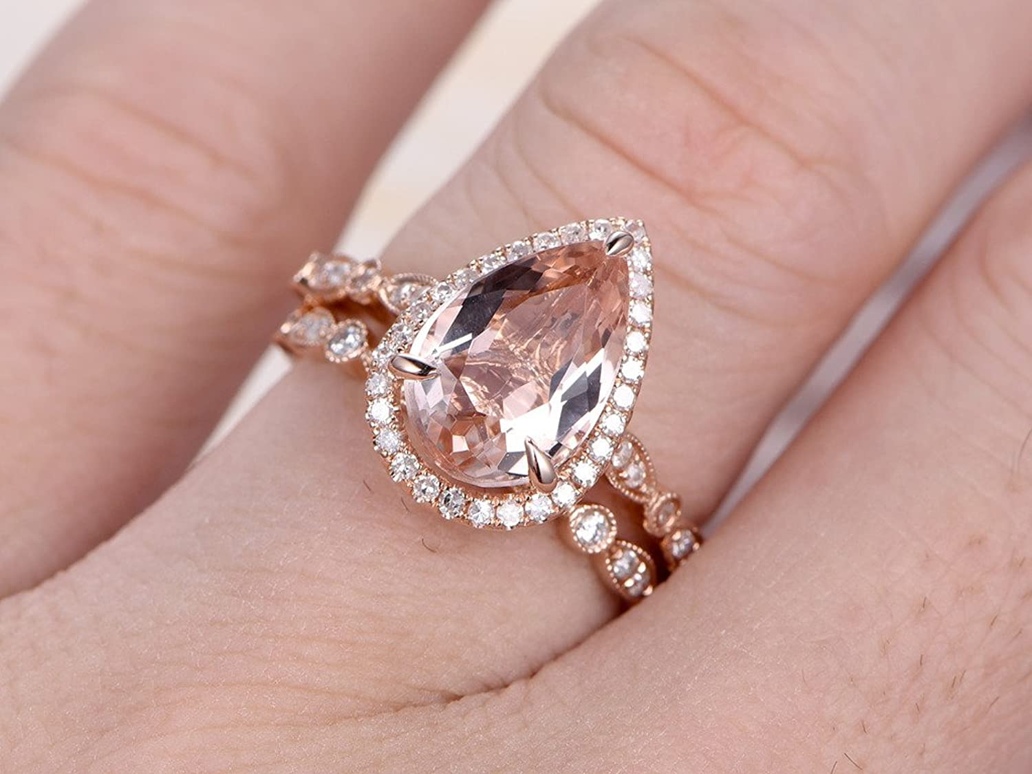 2pcs Wedding Ring Set, 8x12mm Pear Cut Pink Morganite 14k Rose Gold ...