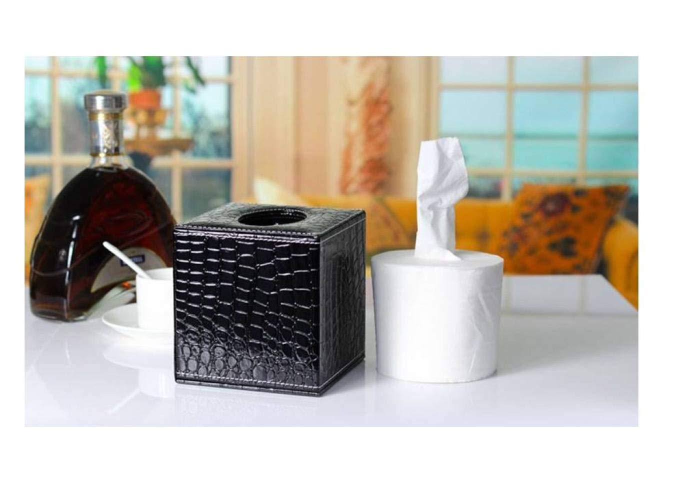 ACZH Cubiertas de Caja de Pa/ñuelos de Cuero en Forma de Cubo 14 13.5Cm 13.5 Blanco